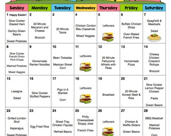 April 2018 Monthly Meal Planner with Weekly Grocery Lists and Recipes - Easter - Budget Meal Planner - Menu Planner - Printable