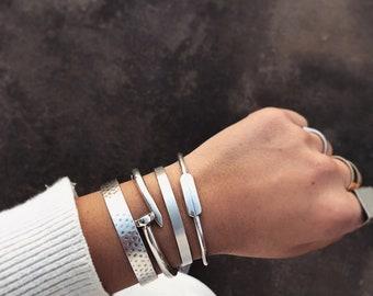 ALICE Combo of 4 Bracelets / Silver Statement Cuff Bracelet Set / Silver Plated Brass / Stacked Bracelets / Layered Bracelets