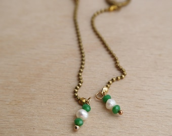 dangling earrings and two green glass beads and Freshwater Pearl