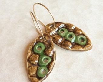 Green Peas Porcelain Earrings-Antique Brass and Green Glazed Porcelain-Green and Gold Earrings-Peas in a Pod Earrings-Handmade Porcelain