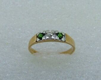 Green Tourmaline and Diamond band-Tourmaline diamond and yellow gold ring-antique style Tourmaline band