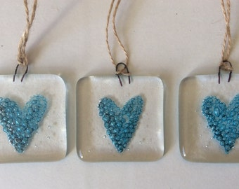 Fused Glass Blue Heart love token Gift Decoration