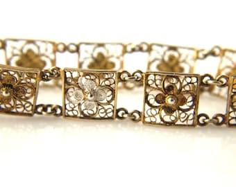 Filigree Bracelet - Floral Design - 800 Silver - Vermeil - Vintage - Art Nouveau