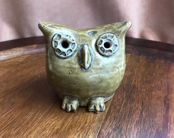 Hand-Carved Pottery Owl (Artist-Signed)