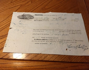 1838 Bill of Lading Schooner out of Port of Boston to Baltimore then to St. Louis   #C100