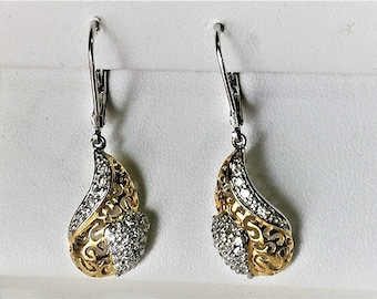 Sterling Silver Dangle Earrings, Gold Accents, Filegree,Round Full Cut CZ, Lever Backs, 1 1/2 inch long