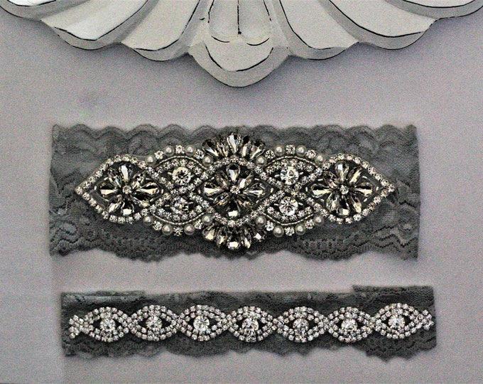 Gray Bridal Garters, Wedding Garter Set NO SLIP grip, vintage wedding garter, pearl and rhinestone garter set, Crystal Wedding A01S-A*B19S