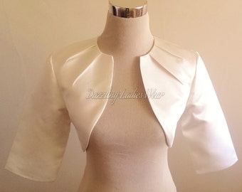 Ivory Satin Bolero Fully Lined - UK 4-26/US 1-22 Shrug/Cropped Jacket/Wrap/Shawl wedding/formal