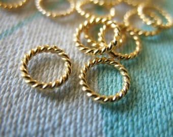 Shop Sale.. 10 25 50 100 pcs Bulk, 24k Gold Vermeil Jump Rings - Twisted Closed, 6 mm, thick, 18 gauge ga, wholesale findings  VJR6mm solo