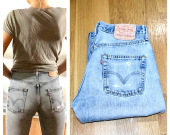 Levi's 501 Jeans / Levis Jeans Small Levis 501 29 Light Blue Levis Distressed Levis Button Fly Levis Women's Levis Small Vintage Levis 501