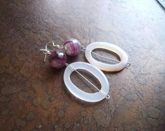 Girly Secret Fire Agate and Jade Beaded Dangle earrings