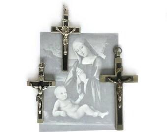 Antique Cross, Ebony Inlaid Large Crucifix, Group of Crosses, Nuns Crucifixes, Set of 3, Pectoral Cross, Clergy Crucifix, Religious Item