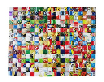 Placemat using upcycled candy wrappers - FREE SHIPPING - vegan friendly gift, upcycled tableware, eco friendly placemat, upcycling by milo