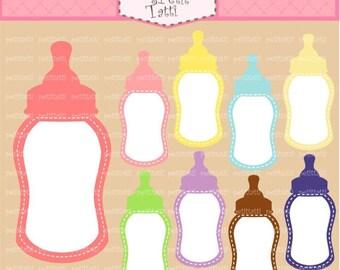 ON SALE Label Clip Art - Baby Clip Art - Tag clip art,instant download, Bottle Milk clip art, babies milk, babies clip art