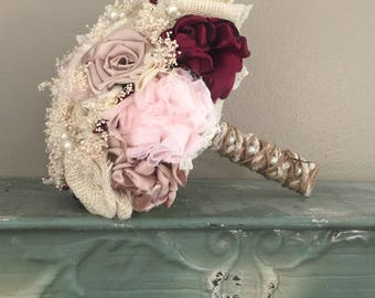 Shabby Chic Blush Pink and Champagne silk with apple satin and Ivory Burlap Wedding Bouquets (listing is for one bridal bouquet)
