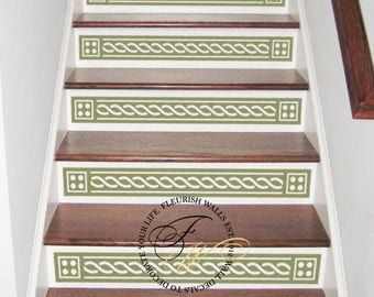 Vinyl Stair Decals For Staircase Riser Decor   Decorative Stair Riser Decal    Stair Stickers Decal   Staircase Decals SET OF TEN (10) ST005