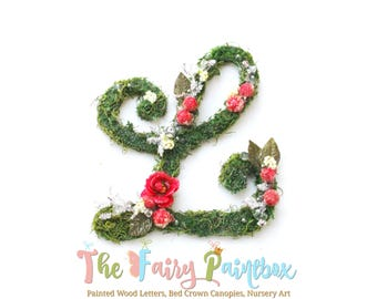 Woodland Christmas Floral Letters - Moss Holiday Wall Letters - Cranberry Floral Monogram - Floral Baby Monogram - Floral Wedding Monogram