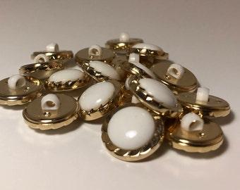 24L White Gold Petal edge Shank Buttons