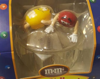 Official M & M's Red and Yellow Collectible Candy Dish