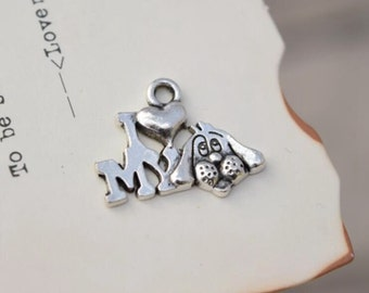 20 antique silver i love my dog charms animal charm pendant pendants  (L02)