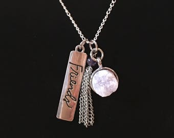 Friends charm with a chain tassel and geode charm