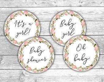 Cupcake Toppers - Baby Shower - DIGITAL FILE Instant Download - Floral - BA1001
