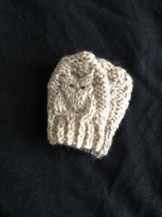 Baby Mitten Knitting Pattern Owl 0 6 Months Pdf Instant