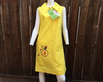 Vintage NOS New w/ Tags 60's Shift Dress Mod Yellow Novelty Bike Zip Scooter M L Go-In's