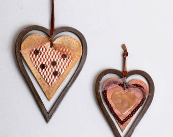 Iron Hanging Hearts - Set of Two