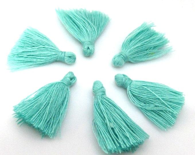 10 Pieces  - Small mini size aqua color silky tassel charms tassle fringe mala supply 1 inch - TS012s