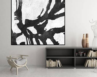 Extra Large original Painting, black and white wall art abstract painting, handmade Abstract Canvas Art, Black and White wall art