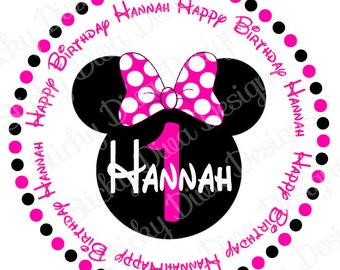 PERSONALIZED STICKERS - Custom Minnie Inspired Birthday Monogrammed Labels - Round Gloss Labels