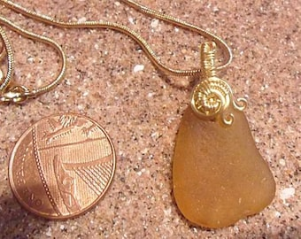 Beautiful Golden Sea Glass Necklace
