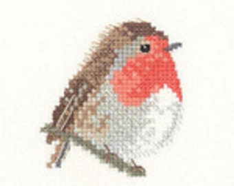 Robin  Cross Stitch Kit from  Heritage Craft Little Friends on 14ct Aida, needlework kit, cross stitch, counted cross stitch kit