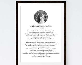 Wedding Vows Custom Print First Anniversary Present Paper Wall Art for Gift with Wedding Photograph
