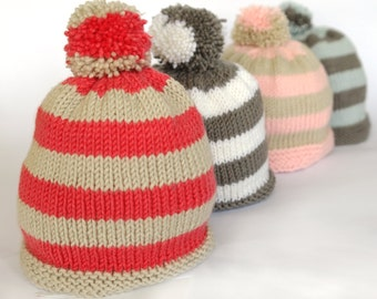 Easy baby hat knitting pattern / Baby bobble hat / Pompom hat / Stripey baby hat / baby toque / Baby knitting pattern pdf download