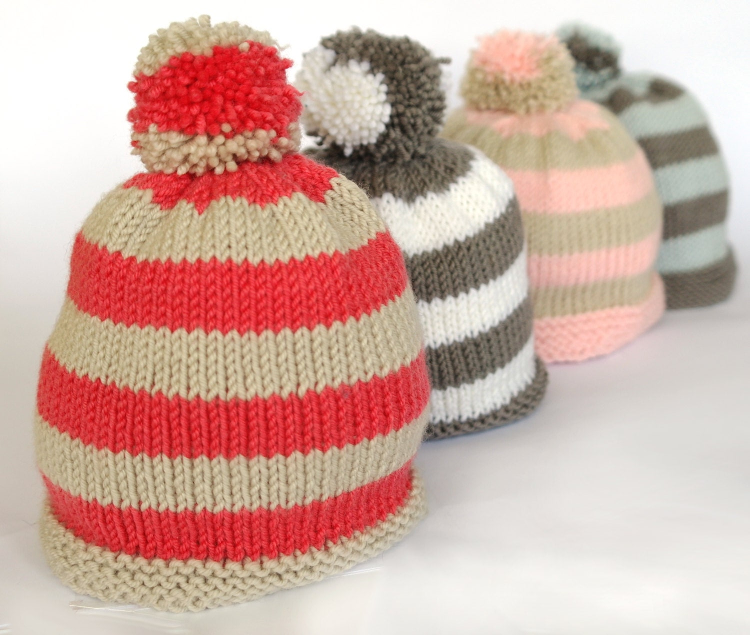 Easy baby hat knitting pattern / Baby bobble hat / Pompom hat ...