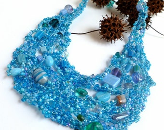 Bib necklace, cornflower blue, free form peyote stitch, unique beaded necklace, bohemian, ooak, statement, romantic, Azure V