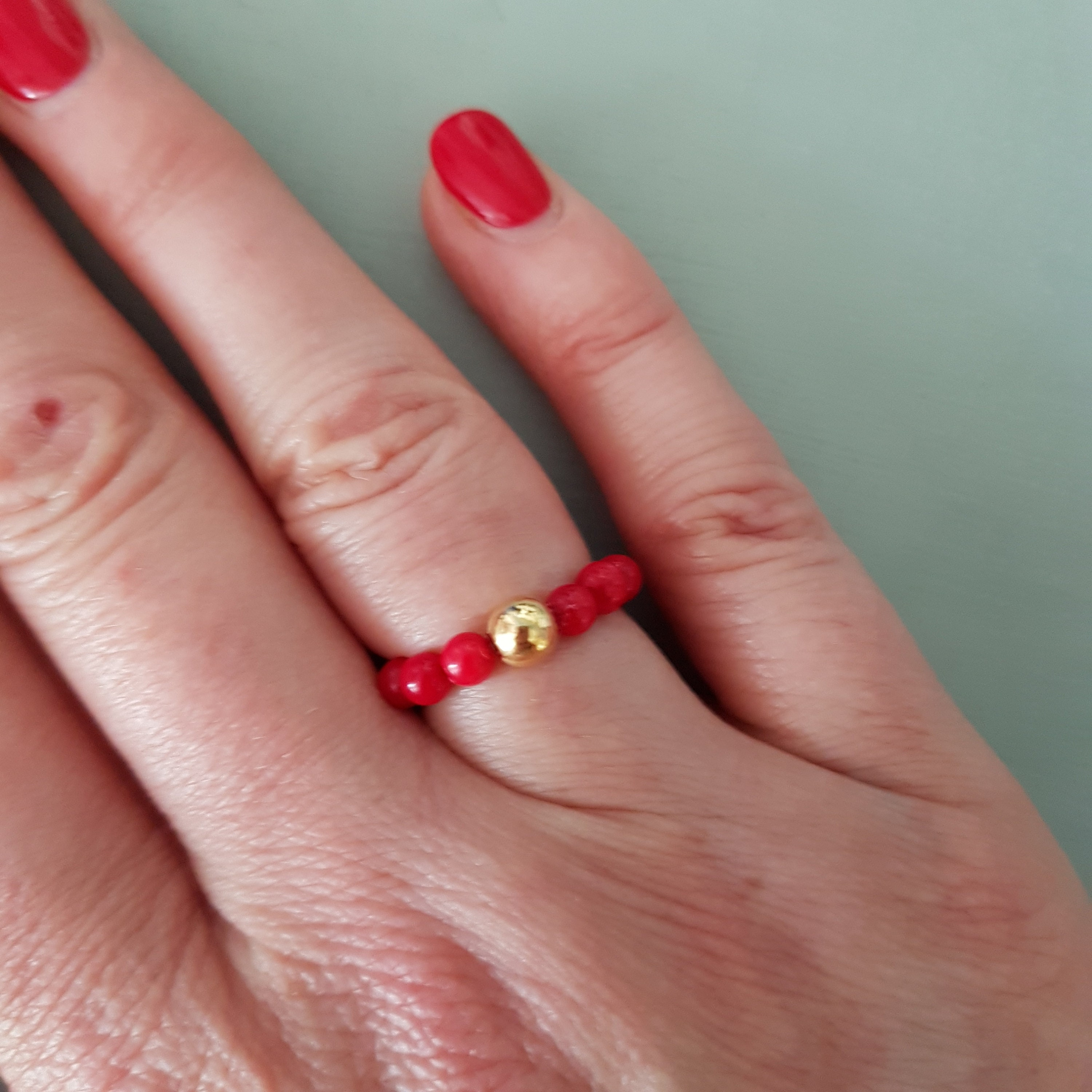 RED CORAL ring Sterling Silver stretch ring - Boho Healing Yoga ...