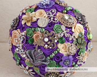 Brooch bouquet. Purple, Green and Gold wedding brooch bouquet, Jeweled Bouquet.