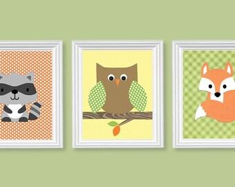 Woodland Animal Nursery Decor, Fox Raccoon Owl,  Gender Neutral Nursery Art, Forest Wall Decor, Nature, Children's Woodland Prints, Canvas