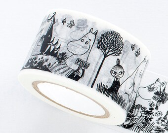 Moomin Black and White Classic Series Japanese Washi Masking Tape / Botanical 30 mm wide for scrapbooking, packaging