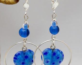 """""""Elda"""" blue millefiori glass earrings"""