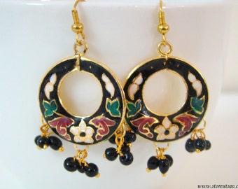 50% OFF-Earrings Black Enamel Dangle Hoop-Moon Meenakari Work-Indian Handicraft-Indian Earring-Rajasthani Jewelry Art of West India