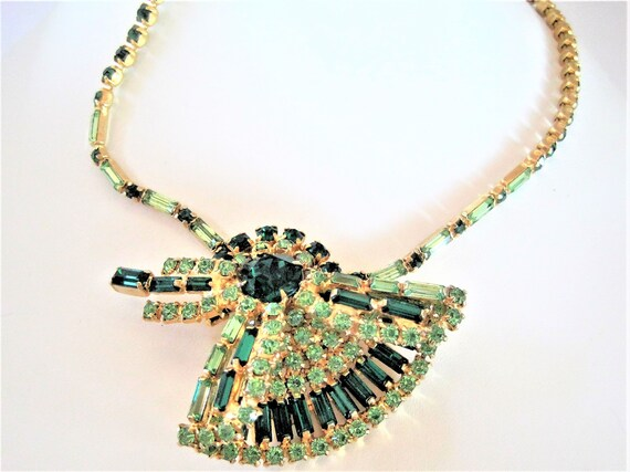 Green Rhinestone Necklace, Two Tone Green, Emerald Shaped Stones, Fan Pendant Necklace