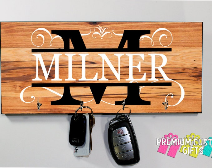 Family Last Name Key Hanger - Many Wood Look Background Options - Wall Rack Key Holder - Anniversary - Housewarming Gift - Design #KH207