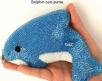 Handmade Beaded coin purse, dolphin change purse, Cute Animal coin purse