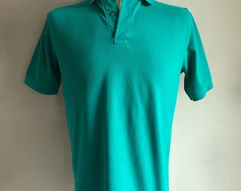 Vintage Men's 80's Turquoise, Polo Shirt, Short Sleeve by Hanes (M)