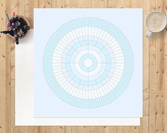 Family tree chart, Father's day gift, blank 8 generation circular ancestry digital download, printable, ready to personalise, baby blue