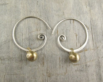 Sterling Spiral Earring - Ball Earrings - Bronze Earring - Boho - Handcrafted Jewelry - Petite Golden Sun Nuggets on Sterling (EB-NGS-SPLSS)